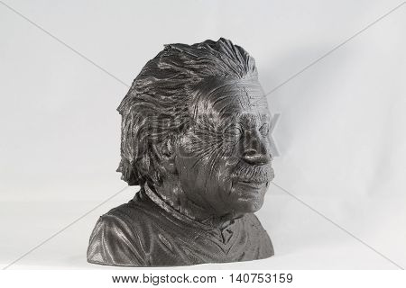 3D printed Albert Einstein Bust in metallic look