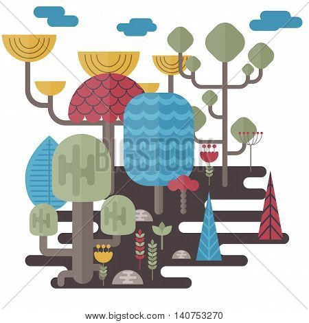 Forest landscape with different trees and bushes. Eco style life. Abstract forest. Vector flat illustrations