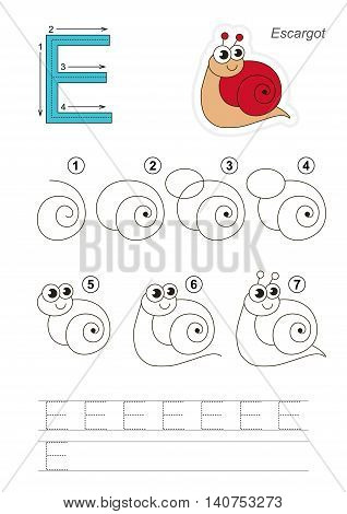 Complete vector illustrated alphabet with kid games. Learn handwriting. Easy educational kid game. Simple level of difficulty. Gaming and education. Drawing tutorial for letter E. Red escargot.