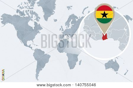 Abstract Blue World Map With Magnified Ghana.