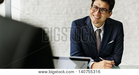 Businessman Communicating Meeting Success Concept