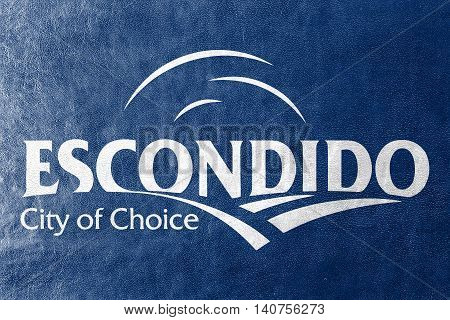 Flag Of Escondido, California, Usa, Painted On Leather Texture