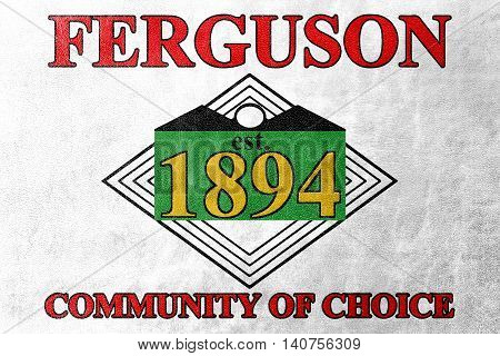 Flag Of Ferguson, Missouri, Usa, Painted On Leather Texture