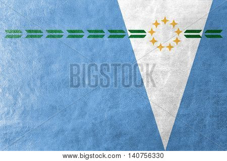 Flag Of Formosa Province, Argentina, Painted On Leather Texture