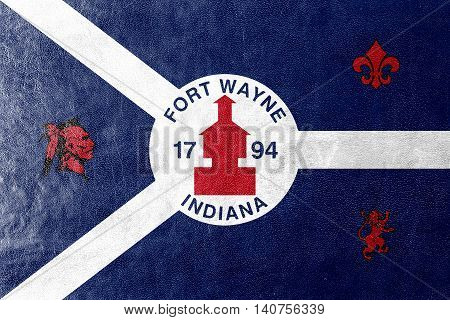 Flag Of Fort Wayne, Indiana, Usa, Painted On Leather Texture