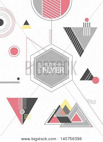 Abstract geometric background. Retro flyer with chaotic geometric shapes. Colorful hipster pattern with triangles. Illustration for placards, posters, wallpaper, flyers, banner designs and covers