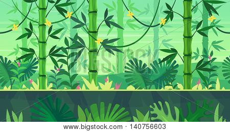 Seamless background for games apps or mobile development. Cartoon nature landscape with jungle. Vector illustration for design graphics print or book . Stock illustration.