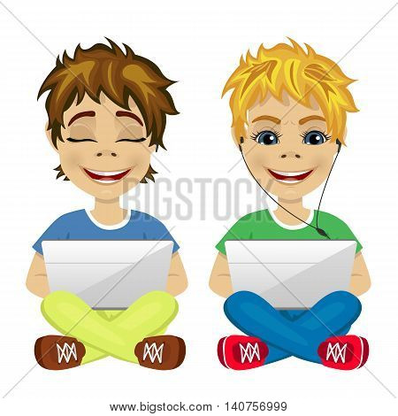 two young gamers sitting on the floor using laptop on white background