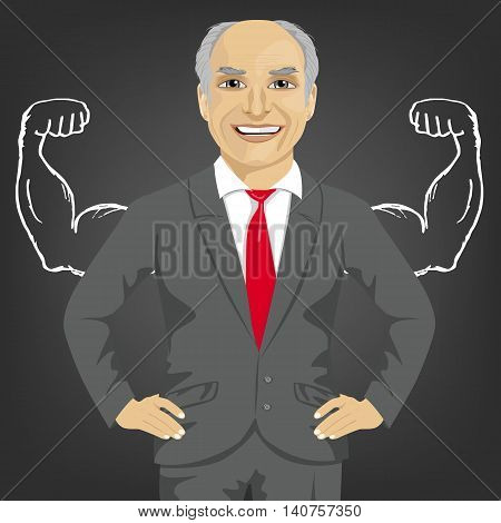 Senior businessman against the background of depicted muscles on chalkboard