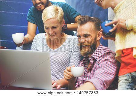 Adults Hangout Computer Coffee Fun Concept