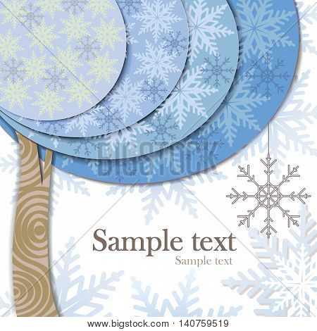 Vector modern card design with stylized winter tree