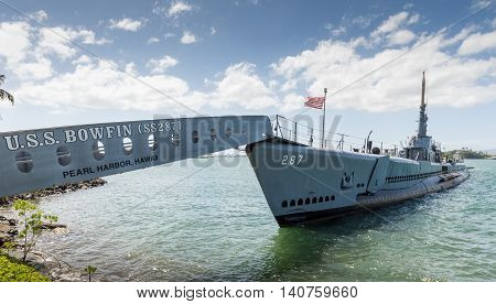 USS Bowfin Submarinesecond world war. Pearl harbor (Oahu - Hawaii) MARCH 2 2016