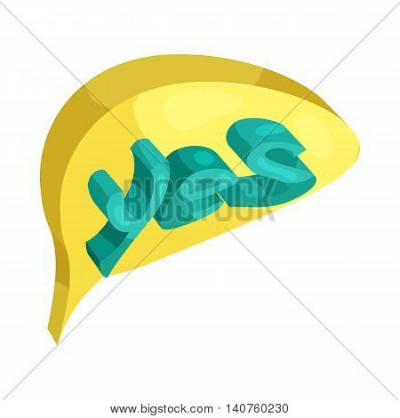 Yes word in a speech bubble icon in cartoon style on a white background