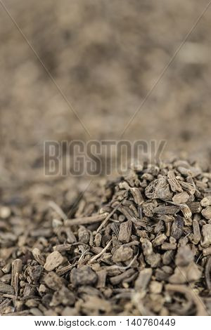 Dried Valerian roots as background image or as texture (close-up shot)