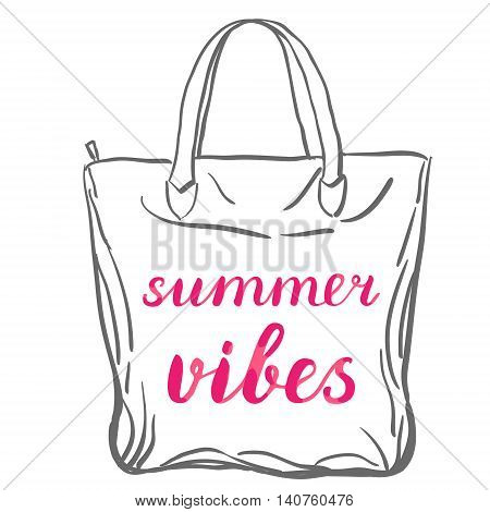 Summer vibes. Brush hand lettering on a sample tote bag. Great for beach tote bags, swimwear, holiday clothes, posters, and more.