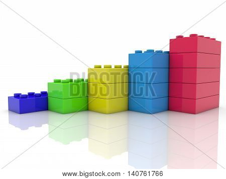 Stacked toy bricks in five colors . 3D illustration