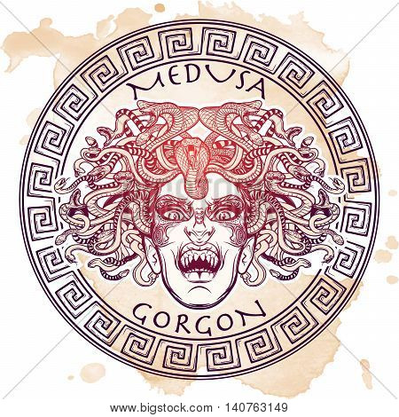 Medusa Gorgon. Ancient Greek mythological creature with face of a woman and snake hair. Legendary beast. Halloween concept. Hand drawn sketch on grunge background. EPS10 Isolated vector illustration. poster