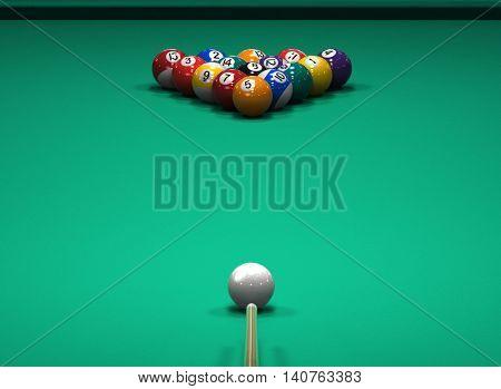 American Pool billiard game. 3d illustration
