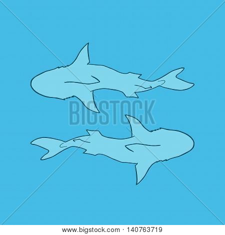 Vector illustration silhouette of two sharks on blue background. Vector two sharks top view.