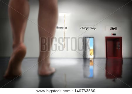 soul looking for a gate to Christian heaven