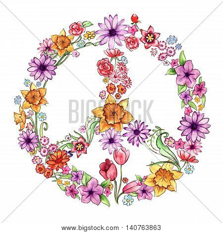 Foral peace symbol made up of watercolour painted flowers.
