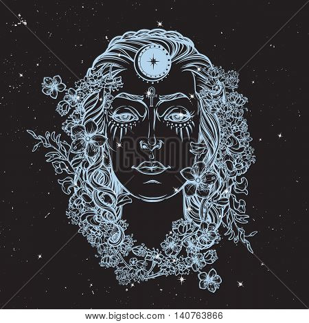White Goddess. Universal deiety in most of the pagan religions worldwide. Hand drawn artwork on a textured nigntsky background with stars. Religion, spirituality. EPS10 Isolated vector illustration.