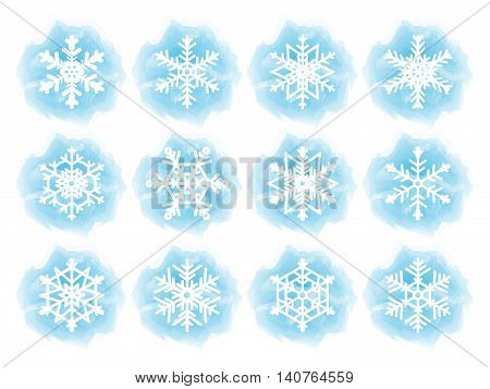 Set of flat snowflake icons. White snowflakes on blue watercolor imitation backgrounds. Vector illustration.