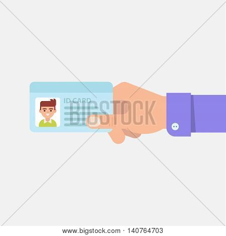 ID or identity card in male hand isolated vector illustration in flat style. Man's hand holding or showing ID badge or driving license. Presenting business cards.