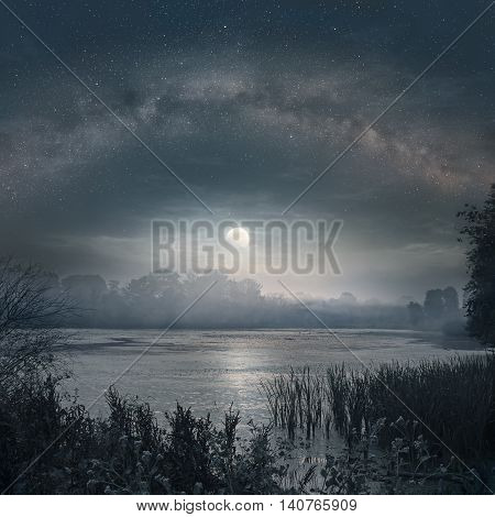 Night picture of Milky Way and rising Moon over the lake poster