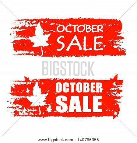 october sale - orange drawn banners with text and fall leaf, business concept, vector