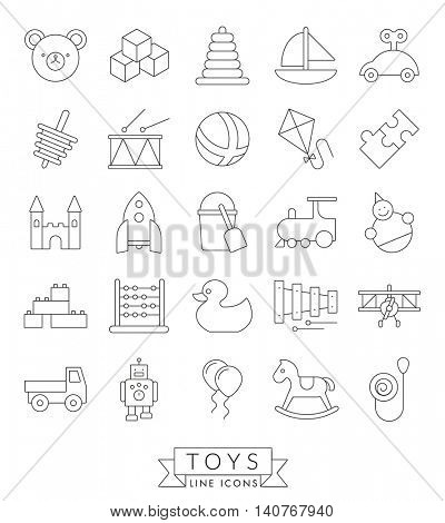 Set of 25 children's toys icons, thin line design