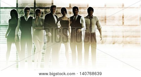 Formidable Business Team with Corporate Background as Concept 3D Render