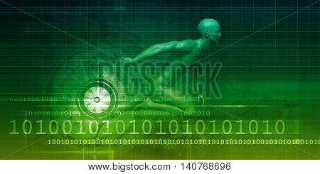 Man Machine Equilibrium as a Science Technology Concept 3D Render