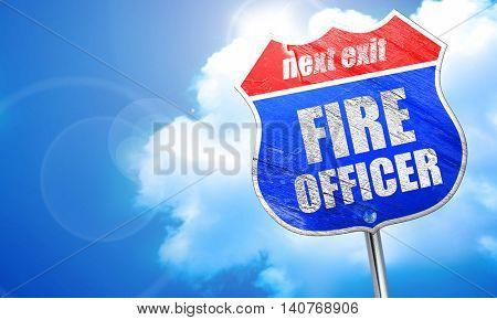 fire officer, 3D rendering, blue street sign