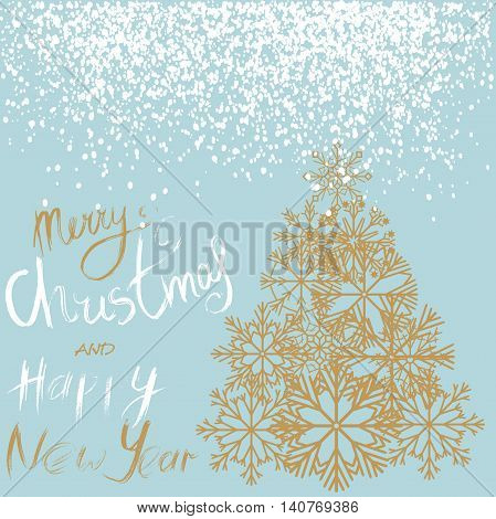 Christmas and Happy New Year handwritten lettering design. Gold Christmas tree from snowflakes. Vector illustration. EPS10