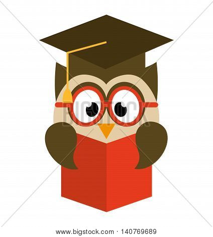 owl bird cute with hat graduation icon