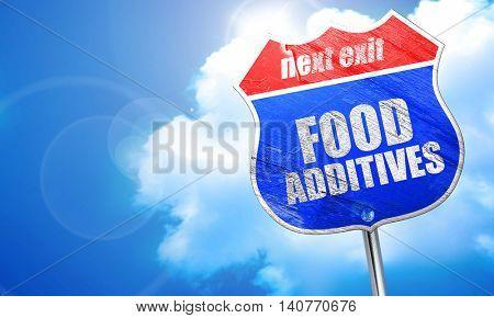 food additives, 3D rendering, blue street sign