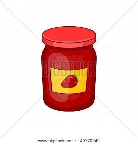 Jar of strawberry jam icon in cartoon style isolated on white background
