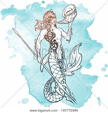 Merman or triton mythological ocean creature armed with trident and horn. Hand drawn artwork Isolated on white background. Neptune or Poseidon God of freshwater and the sea. EPS10 vector illustration.