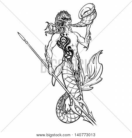 Merman or triton mythological ocean creature armed with trident and horn. Hand drawn artwork Isolated on white background. Neptune or Poseidon God of freshwater and the sea. EPS10 vector illustration. poster