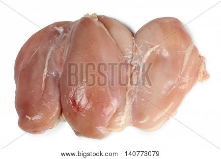 Piece of raw chicken meat on a white background