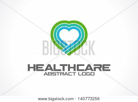 Abstract logo for business company. Corporate identity design element. Healthcare, help, pharmacy, heart logotype idea. Health protection, care, medical clinic, medicine concept. Colorful Vector icon