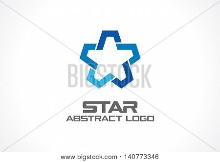 Abstract business company logo. Corporate identity design element. Industry, finance, bank logotype idea. Star group, network integrate, technology interaction concept. Color Vector connect icon
