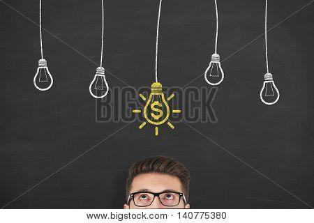 New Idea Finance Solution Concept on Blackboard Businessman Working Conceptual