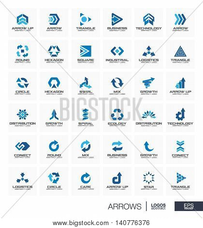 Abstract logo set for business company. Corporate identity design elements. Triangle, mix, growth, group connect concept. Arrow up direct, switch, turn, merge logotype collection. Colorful Vector icon