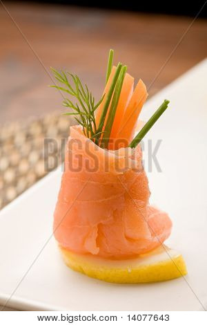 Smoked Salmon Rolls With Tomatoes
