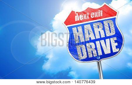 harddrive, 3D rendering, blue street sign