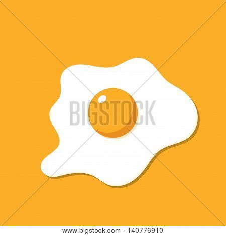 Fried egg isolated on yellow background. Scrambled egg. Egg breakfast
