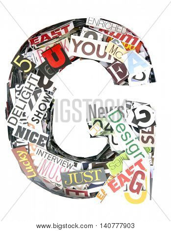 the Letter G Random words and letters Magazine Background