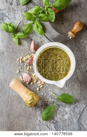 Homemade Green Pesto Sauce With Basil And Pine Nuts In White Mor